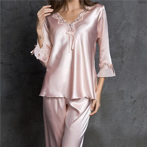 Sexy Silk Satin Pajama Set Lace Pyjama Set Long Pijama Set V-neck Sleepwear Autumn Home Wear Sleep Wear For Women - Chittili
