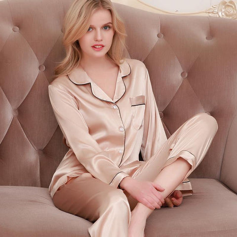 Icy Silk Loose Women Pajamas Sleepwear Long Sleeve Trousers - Chittili
