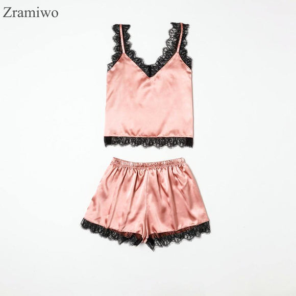 Summer Sleepwear Sexy Satin Pajamas Set Lace Cami Tops and Shorts Sleeveless Nightwear for Women