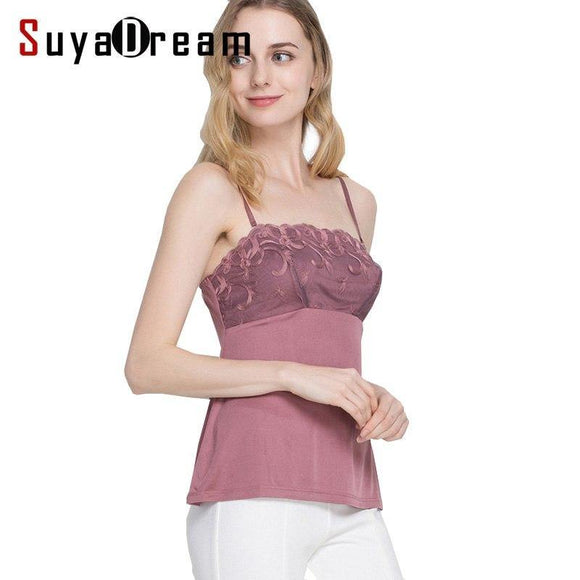 Women Lace Camis 100%Real Silk Sexy Camisole Solid Bottoming shirt 2018 Summer Vest White Black Tank Top