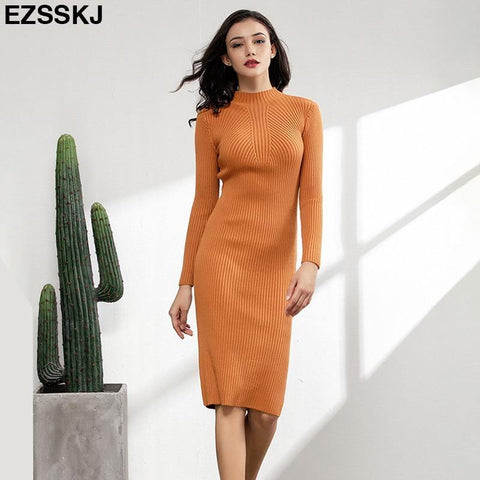 Slim & sexy long sleeve solid color knitted dress - Chittili