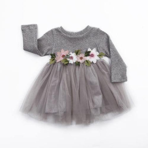 Flower Knitted Cute Dresses Infant Baby Girl Long Sleeve - Chittili