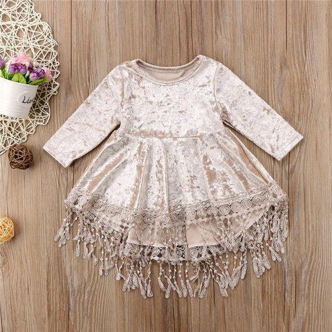 Baby Girl Vintage Princess Dress Kids Velvet Lace Tassel Patchwork Dresses Casual Baby Long Sleeve Dresses Asymmetrical Vestidos - Chittili