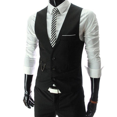 Slim Fit Men's Suit Vest Male Waistcoat Casual Sleeveless Formal Business Jacket - Chittili
