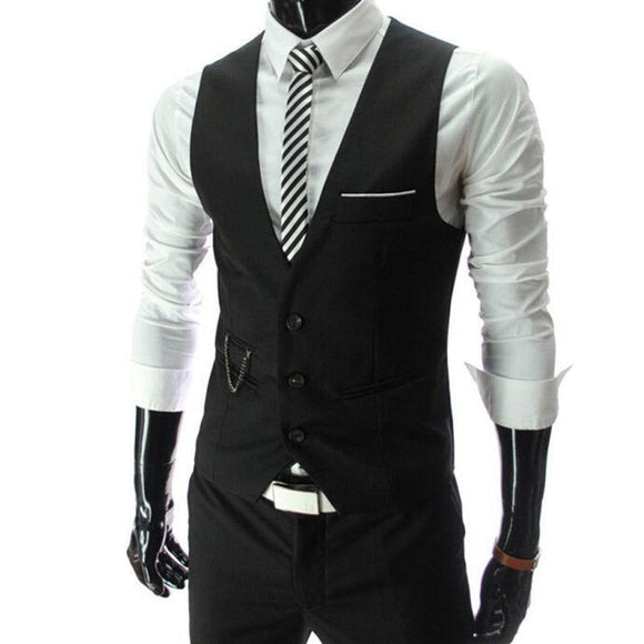 Slim Fit Men's Suit Vest Male Waistcoat Casual Sleeveless Formal Business Jacket