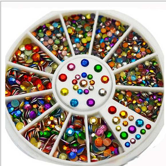 3D Nail Art Decorations Mixed Color Nail Art Tips Decor Glitters Rhinestones for Nails Crystal Gems DIY Manicure Wheel