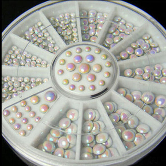 Nail Decoration Rhinestone 3 sizes together Multicolor white rivets Rhinestone Nail Art Decoration 6cm 12 grid Nail Turntable