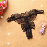 Butterfly Lace Micro Women Open Thongs G Strings Transparent Underwear BK