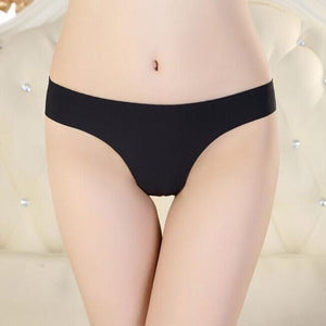 Women Invisible Underwear Thong Cotton Spandex Gas Seamless Crotch XXL BK