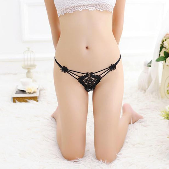Womens Flowers Sexy Lace Thongs G-string T-back Panties Lingerie Underwear BK
