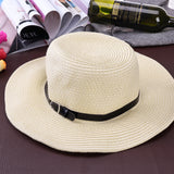 Men Wide Brim Hat Summer Beach Straw Cap Sun Floppy Foldable Hats for Adults