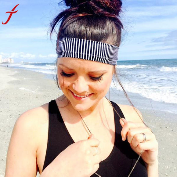 Unisex Sweatband Stripe Sporting Fitness Stretch Headband Hair Band Sweat Absorbing Headband Hearband New Style Protector