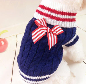 Pet winter clothing dog clothes Navy butterfly knot pet sweater