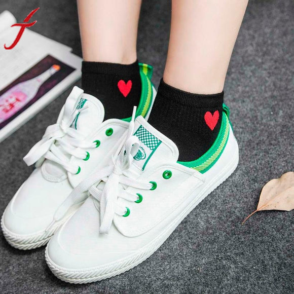 Feitong 1Pair Cotton Short Socks 2017 Womens Geometric Heart Printed Ankle High Low Cut Cotton Funny  Socks popsocket