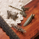 4pcs Vintage Bronze Hair Clips Pins Butterfly Feather Hairclip Headpieces