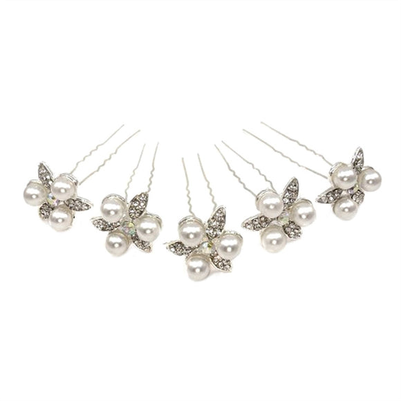 5pcs Delicate Women's Bridal Pearl Rhinestone U-Shaped Hairpins Hair Clips