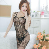 Womens Floral Open Crotch Mesh Bodystockings Bodysuits