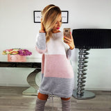 Womens Holiday O Collar Knit Party Ladies Casual Dress Long Sleeve Dress
