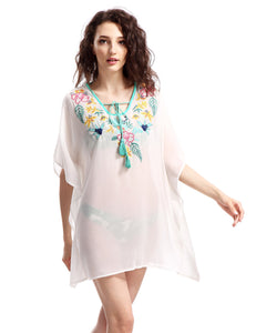 Avoir Aime Women's Boho Oversized Embroidered Chiffon T-Shirt Cover Up