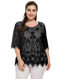 Chicwe Women's Lined Plus Size Floral Lace Top Tunic Blouse Cotton Blended with Eyelash Hem 1X-4X