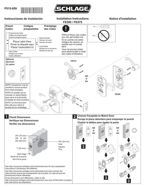 Schlage Plymouth Keypad Lock With Auto Lock Feature Fe575