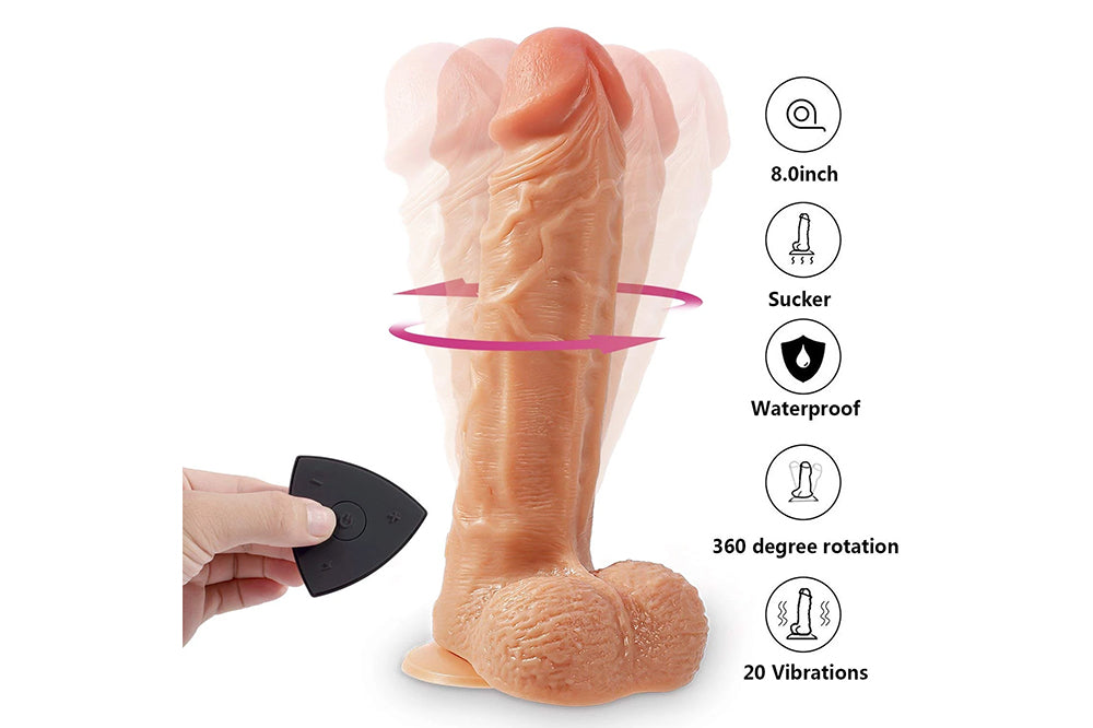 Rechargeable Silicone Vibrating Dildo Lifelike Penis