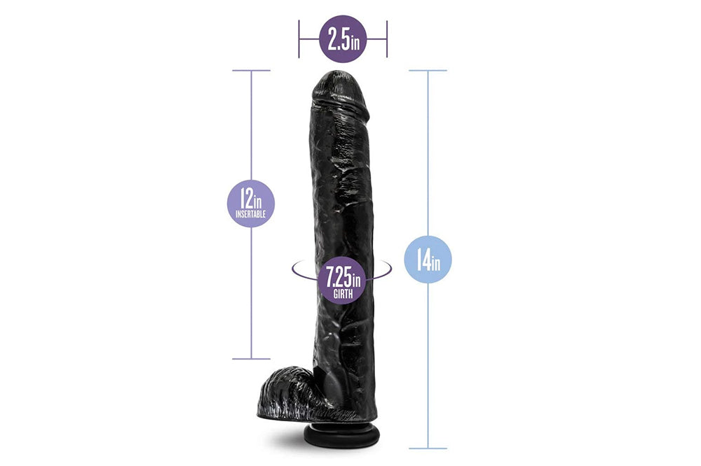 "14"" Extra Long Thick Realistic Dildo Suction Cup Harness Cup"