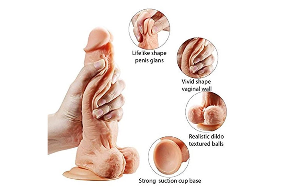 Silicone Vibrating Dildo 360° Rotation Penis Cock Wireless Remote Control