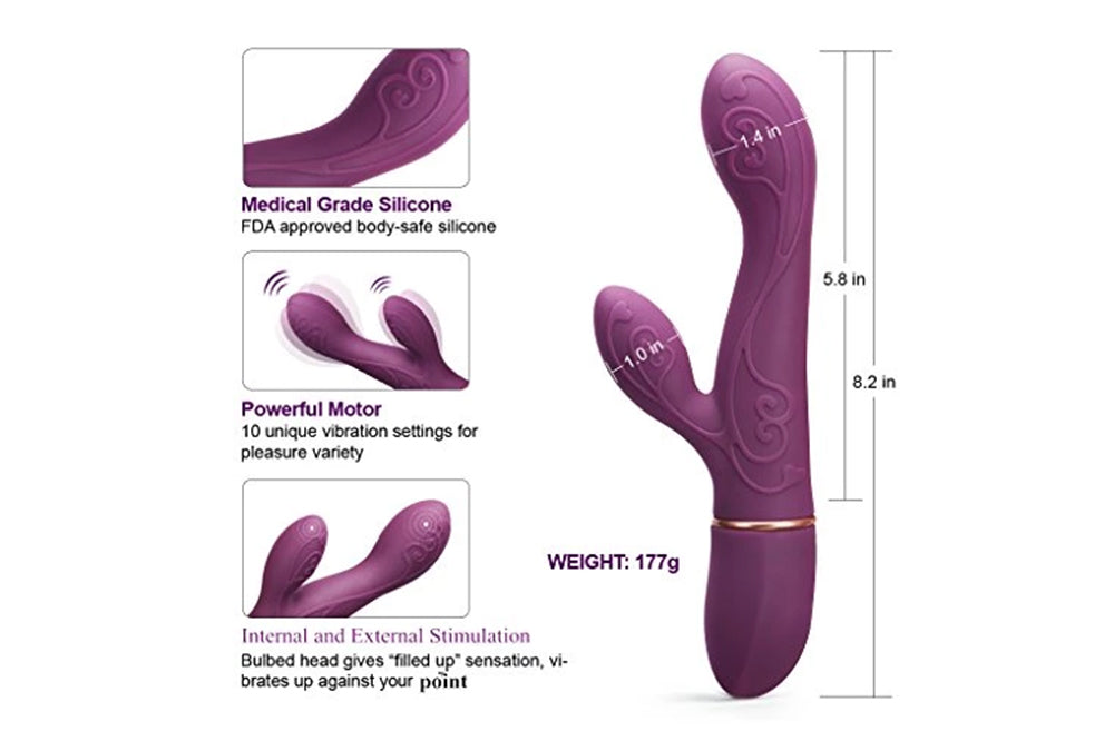 Waterproof G Spot Vibrator with 10 Speed, Rechargeable Clitoris Stimulation for Female