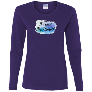 The Lord is My Strength Ladies Cotton LS Tee