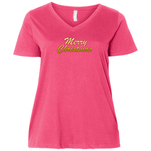 Merry Christmas Ladies Curvy V Neck Tee