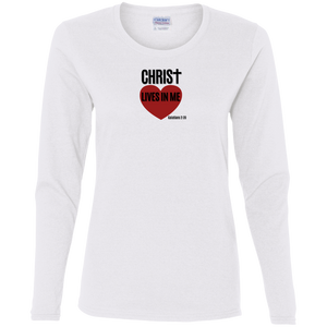 Christ Lives in Me Ladies Cotton LS Tee Shirt