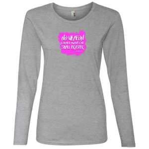 No Weapon Formed Against You Shall Prosper Ladies Lightweight LS Tee Shirt
