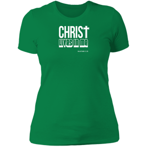 Christ Lives in Me Ladies Boyfriend Tee Shirt