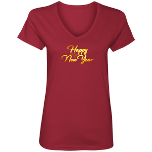 Happy New Year Ladies V Neck Tee Shirt