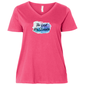 The Lord is My Strength Ladies Curvy V Neck Tee