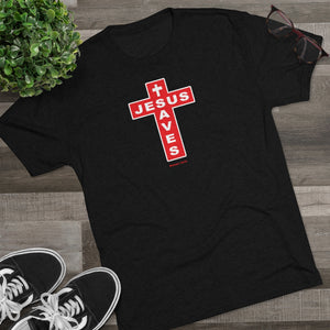 Jesus Saves Men's Tri-Blend Crew Tee
