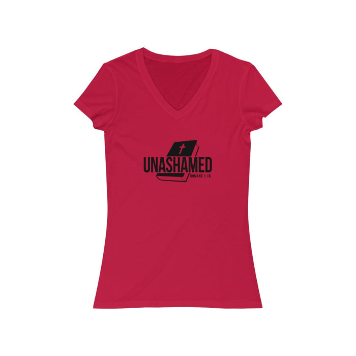 Unashamed Women's Jersey Short Sleeve Deep V-Neck Tee