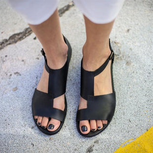 Simple Black Large Size Sandals