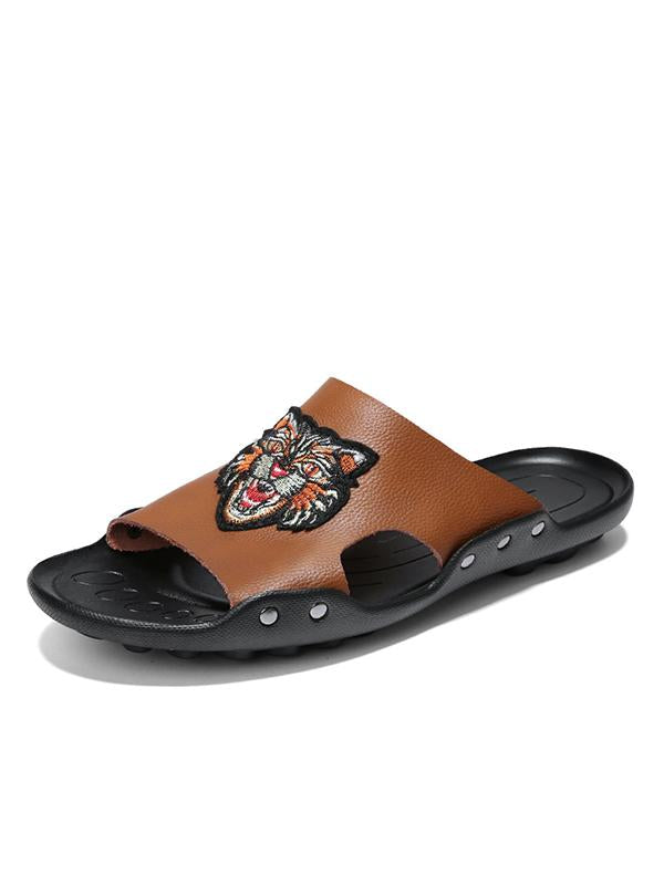 2019 Embroidered Tiger Leather Soft Sole Beach Slippers