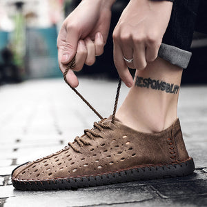 Large Size Men's Shoes Summer Punching Breathable Casual Shoes