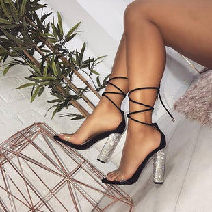 Sexy Rhinestone Strap High Heel Sandals