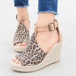 Straw Wedges Leopard Sandals