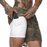 Double-Layer Sports Fitness Quick-Drying Shorts With Pockets