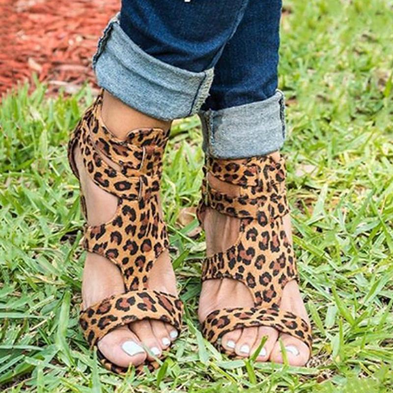 2019 New Wedge Heel Buckle Leopard Sandals