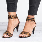 Large Size Stiletto Leopard Print Sandals