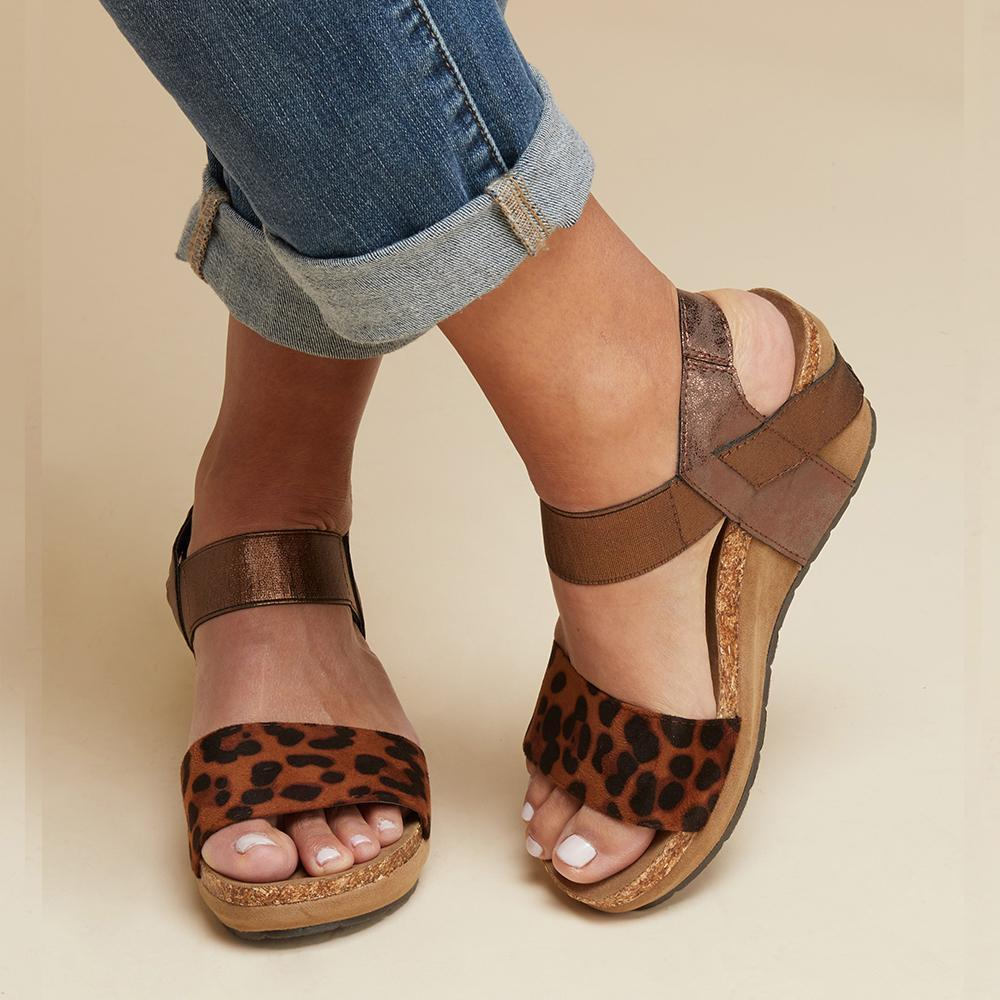 Leopard Wedge Heel Platform Sandals