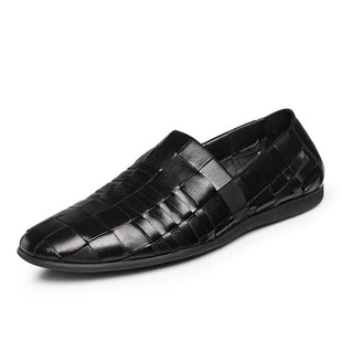 men's round head set of hand-woven shoes