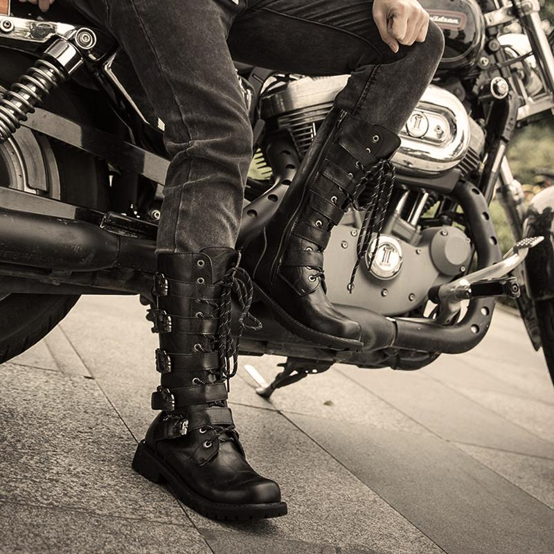 Couple's Leather Buckle Motorcycle Boots