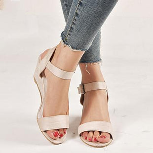 Large Size Wedge Buckle Sandals